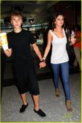 Selena Gomez and Justin Bieber at Liberty Place in Philadelphia on August 19, 2011