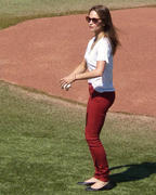Kristin Kreuk throwing out the first pitch at the �Toronto Blue Jays� game -September 3, 2012-